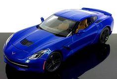 "2014 Chevrolet Corvette Stingray Z51 Diecast Car in Blue  1:18 Scale Diecast, approximately 10"" long  Hood opens, doors open, trunk opens  Manufactured by Maisto, Part # 31677B  $39.00  http://www.kcautoacc.com/2014-Chevrolet-Corvette-Stingray-Z51-Blue-118-Scale-Diecast-Maisto-31677B_p_15333.html"