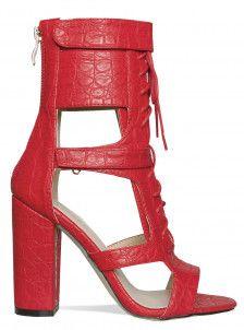 fa6465b965 Frankie Red Croc Velcro Lace Up Heels High Heels: Shop Womens Footwear  Online UK -