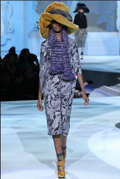 NWT Marc Jacobs Runway Gray Floral Brocade Metallic Scarf Dress Sz US 4 $3000 #MarcJacobs #Cocktail