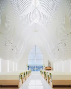 intricate white veil tops st. voile chapel by kasahara design work #architettura #design #allestimento