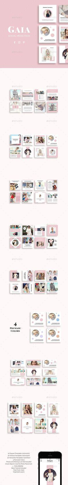 Gaia Social Media Pack — Photoshop PSD #commerce #accessories Social Media Branding, Social Media Banner, Social Media Template, Social Media Design, Layout Design, Banner Design, Photoshop, Portfolio Design, Banner Instagram