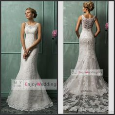 Discount 2014 Sexy New Sleeveless Lace Mermaid Wedding Dresses Applique Beaded Backless Court Train Bridal Gowns With Buttons Back BO6047 Online with $143.54/Piece | DHgate