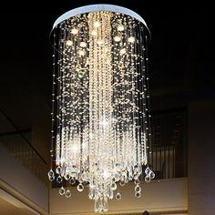 Modern Minimalist LED Vanity Long Stair Crystal Chandelier Light Fixture for Living Room Large Luxury Hotel Hall Foyer Lamp