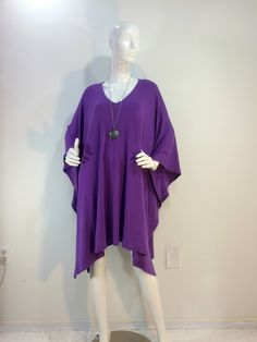 Featherweight bamboo blend poncho, caftan, kaftan, in red violet purple. by qualicumclothworks on Etsy