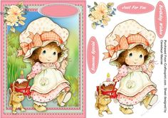 Little Miss Birthday Girl by Ceredwyn Macrae A lovely card with the Strawbery Girls , Little Miss Birthday Girl has 3 greeting tags and a… Quick Cards, Little Miss, Girl Birthday, Decoupage, Card Making, Teddy Bear, Printables, 3d, Tags