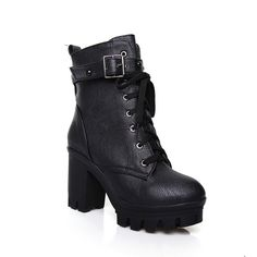 BalaMasa Womens Platform Buckle Gear Bottom Imitated Leather Boots > More infor at the link of image  : Rain boots