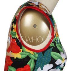 Vintage V Neck Sleeveless Printed Midi Tiki Dress For Women