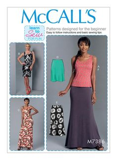 McCall's Sewing Pattern M7386 Very Easy Misses' Knit Tank Top, Dresses & Skirts … WeaverDee.com