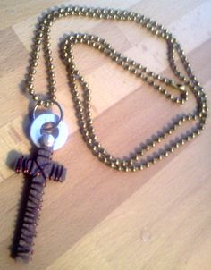 Painted Steel Pendant Cross with Beads and Metal by RuggedCross777, $9.99