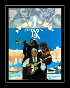 1975 Super Bowl IX Program Cover Art Poster. Details High-quality photographic print Printed on heavyweight satin photo paper Ready to frame Great gift idea Made in the U.S.A. Available in 3 sizes Choice of black or white border Buy with confidence. I stand behind everything I sell. If you are not satisfied, please contact me, so I can resolve your unmet expectations.