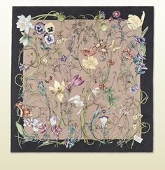 Gucci - pink and black mini flora infinity print silk scarf