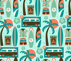 Retro Beach Party fabric by lisakubenez on Spoonflower - custom fabric - NUMBER 3 of the Spoonflower Surfing Contest! Surfer Party, Fabric Patterns, Print Patterns, Loom Patterns, Beach Fabric, Hello Kitty Tattoos, Charm Pack Quilts, Hello Kitty Birthday, Retro Fabric