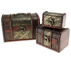 Storage Boxes Jewellery 3 Pieces Case Wooden Aged Pirate Vintage Treasure Chest