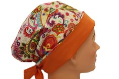Scrub Hat Surgical Scrub Cap Chemo Hat Flirty Front Fold Pixie