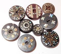 Antique Button Horn  w/Shell & Metal Inlaid Designs Medium & Small 17mm to 11mm   SOLD $23.39