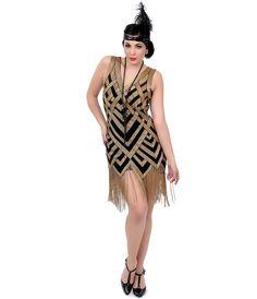 1920s Style Gold Deco Forster Flapper Dress #uniquevintage