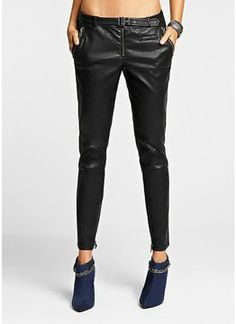 GUESS Faux-Leather Cropped Skinny Moto Pants on shopstyle.com | Add rebellious appeal to your off-duty style with these faux-leather pants. The cropped length and skinny fit create a flattering, on-trend silhouette we're obsessing over. Pair them with an oversize sweater or denim jacket for the ultimate season-ready look. Medium rise, sits at hips Slim fit through thigh Skinny leg opening Attached belt. Two front zipper pockets with welt pocket detail plus two back welt pockets. Zippered…