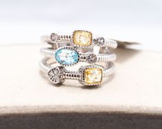 JUDITH RIPKA 3 BAND BLUE & CANARY CRYSTAL AND WHITE SAPPHIRE RING (1006) #JudithRipka #Band