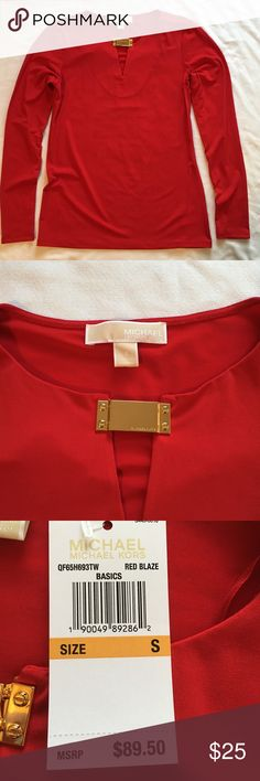 **NWT** Michael Kors Red Top With Gold Detail Brand new with tags! Michael Kors red dressy top with a gold accent piece. This top is very sophisticated and looks like a million bucks! Size small. Retails for $89.50 MICHAEL Michael Kors Tops Blouses