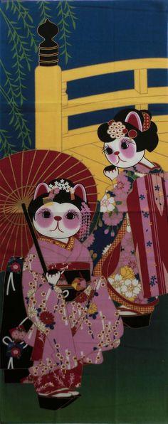 Tenugui Maneki-neko Fortune Cats