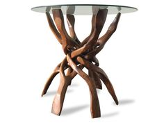 Handmade teak root console dining table with tempered glass top is ideal choice for accommodating large family gatherings and dinner parties. It is a perfect big sized dining room furniture. Garden Furniture Sale, Bank Holiday Weekend, Solid Wood Furniture, Scandinavian, 1960s, Dining Table, Organic, Glass, Handmade
