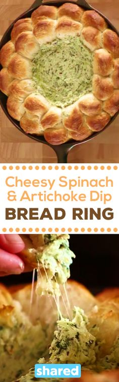 Cheesy Spinach and Artichoke Dip Bread Ring