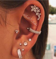 "No Piercing Sterling Silver Ear Cuff Helix Cuff ""Captive Ball"" Handmade - Custom Jewelry Ideas Pretty Ear Piercings, Ear Piercings Chart, Ear Peircings, Types Of Ear Piercings, Facial Piercings, Multiple Ear Piercings, Tragus Piercings, Piercing Tattoo, Ear Jewelry"