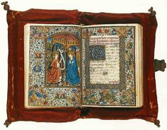 Book of Hours, Valencia, c. 1460  Vellum, 167 leaves, 150 x 100 mm. Chemise binding.  This is a page from St. Augustine, La Cite de Dieu (City of God).