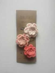 Crochet Flower Hair Clips // 100% Cotton // Set of Three in Pastel Pink, Pastel Peach & Coral // Custom Colours Available by CroShellbyshelley on Etsy