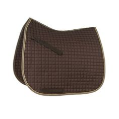 """"""" Dressage Saddle Pad. Chocolate with cream piping and light brown ..."""