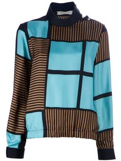Blue and brown silk blend blouse from Marni featuring a contrast abstract pattern, funnel neck with gold-tone button detailing and contrast gold-buttoned cuffs.