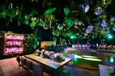 » Jungle Party Neon Jungle, Jungle Party, Birthday Party Design, Party Rock, Disco Party, Aesthetic Rooms, Event Decor, Beautiful Space, Backdrops