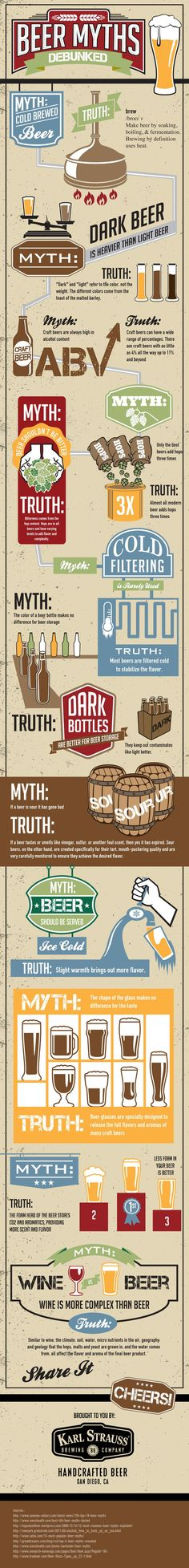 A look at a range of #beer myths that are often taken as fact - Find out more in this #infographic - www.finedininglov...