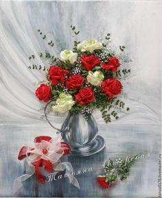 """Купить Вышитая картина """"А Вам подарок"""" - ярко-красный, розы, красные розы"""