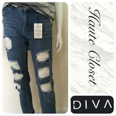 Boyfriend Jeans Distressed boyfriend jean; excellent quality w/ great fit. New!   *Size 4 measurements coming soon   Size 6: Inseam: 27.5 inches Waist: 15.5 laid flat across front only Width: 39 Inches Jeans Boyfriend