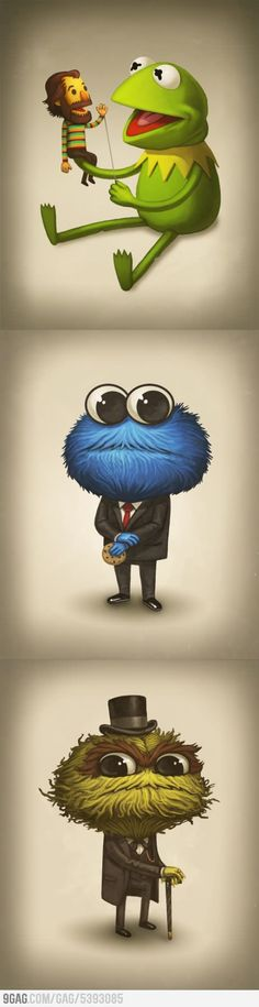 Tribute to Jim Henson by Mike Mitchell (since Disney now owns Muppets it goes here). FYI Disney is so mean they won't let Kermit be on the Street unless they get the bucks! So that's why he's not on the show anymore (Bad Disney)..