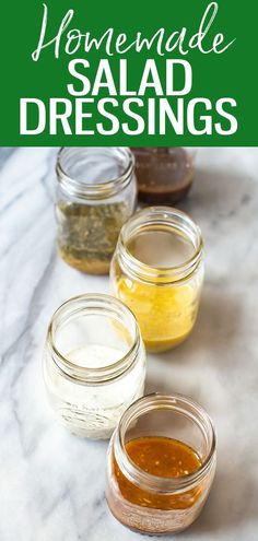 These 5 Healthy Homemade Salad Dressings are so easy and delicious, and will last in your fridge up to 2 months! Try Italian, ranch, balsamic, honey dijon and ginger sesame! #salad #dressing Healthy Meals To Cook, Good Healthy Recipes, Clean Eating Recipes, Eating Healthy, Delicious Recipes, Whole Food Recipes, Creamy Salad Dressing, Homemade Ketchup, Fruit And Veg