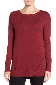 Caslon® Pointelle DetailButton Back Tunic Sweater (Regular