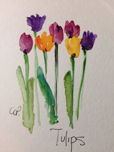 Tulips watercolor card by gardenblooms on etsy cards - water Watercolor Pictures, Watercolor Cards, Watercolor Print, Watercolour Painting, Watercolor Flowers, Painting & Drawing, Watercolor Water, Watercolours, Etsy Cards