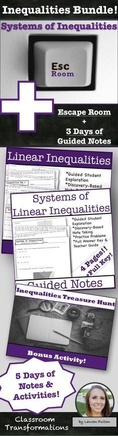 Systems of Inequalities Activity Systems of Inequalities Notes and Activity Bundle! Systems of inequalities unit