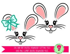 Bunny Rabbit Face Easter SVG / DXF Cutting Files For Cricut Explore / Silhouette Cameo & PNG Clipart, Digital Download, Commercial Use Ok by DigitalGems on Etsy