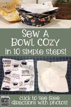 FREE PATTERN – Bowl cozies are great for hot food or cold – soup from the microwave or ice cream from the freezer! Learn how easy they are to make – just 10 steps! Sew this: Soup Bowl Cozy – Free Pattern Small Sewing Projects, Sewing Projects For Beginners, Sewing Hacks, Sewing Tutorials, Sewing Machine Projects, Christmas Sewing Projects, Easy Sewing Patterns, Pattern Sewing, Christmas Crafts