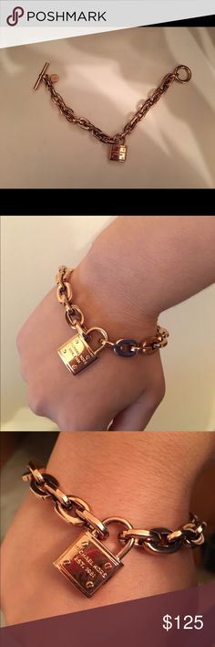 Michael Kors Lock Bracelet Rose Gold Michael Kors Bracelet. Worn once or twice. Comes with a dust bag. Comes from a pet free/ smoke free home! Comment with questions and negotiations! 💙 Michael Kors Jewelry Bracelets