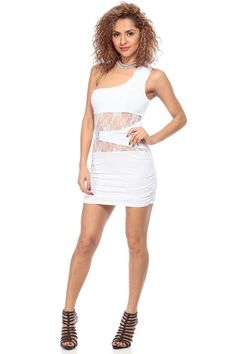 CICI HOT: White Lace Detailed One Shoulder Bodycon Dress for $23.99 :: Faearch