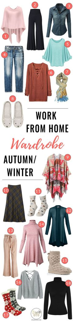 Casual work from home wardrobe ideas for cold weather (autumn/winter fashion). LOVE these stylish yet comfortable clothes I can wear while working in my home office. Tips for what to wear to boost your productivity. Great outfit ideas for work from home w #workfromhomeofficeideas