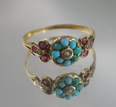 Free post....Stunning Antique Victorian 1880 15k,gold solid ring natural Persian Turquoise cluster,Ruby gemstones with Pearls USA sz 7/UK- N by…