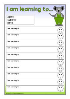 "Koala-themed pupil target and achievement sheets...I like the idea of ""I am Learning to..."""