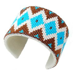 Brown White Blue Native Art Beadwork Medicine Men's Eye Brace
