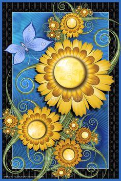 Good Day Sunshine by Velvet--Glove on DeviantArt Flower Artwork, Flower Wallpaper, Flower Tat, Velvet Glove, Funky Painted Furniture, Good Day Sunshine, Devian Art, Fractal Patterns, Skeleton Art
