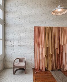 Feb 2020 - Our layered custom cheesecloth backdrop and blush pink mod Lola chair at The Revive Collective's One-Day Women's Conference in Austin, Texas at One Eleven East.